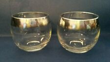 Dorothy Thorpe Roly Poly Mid Century Modern  4 Ounce Silver Rim Pair Set Of 2