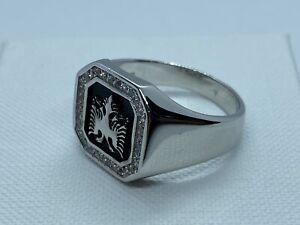 Genuine Men's Albanian Eagle Ring CZ Stone Set - 925 Sterling Silver