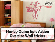 Harley Quinn Epic Action Silhouette Oversize Wall Sticker