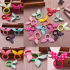 12Pcs Kid Girls Hair Rabbit Ears Bow Ponytails Band Bobbles Tie Rope Hair Band
