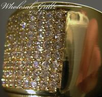 $150 MENS 14K GOLD GP SIMULATED DIAMOND WEDDING/PINKY RING ICED OUT HIP HOP RING