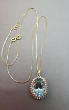 "VTG 14K Yellow Gold Blue Topaz Diamond Pendant Oval 5+ CTW 4.09g w/18"" Chain 10k"