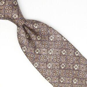 Josiah France Mens Silk Necktie Brown Ivory Light Blue Geometric Print Tie Italy