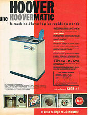 PUBLICITE ADVERTISING 114  1961  HOOVER  lave linge machine à laver HOOVERMATIC