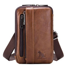 Men Leather Small  Messenger Shoulder Bag Belt Phone Waist Bag Fanny Pack Pouch