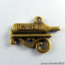 38x Vintage Bronze Alloy Wine Bottle Charms Pendants Findings Crafts 50897
