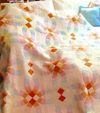 Vintage Double Wedding Ring Cotton Quilt Top 81 X 81 Scalloped Edge
