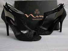 Nina Size 9 M Unilla Black Baby Glitter Open Toe Heels New Womens Shoes