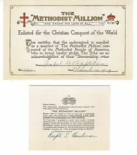 METHODIST BISHOP DR. RALPH SPAULDING CUSHMAN SIGNED CARD-THE METHODIST MILLION