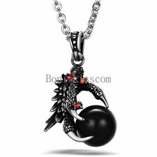 Stainless Steel Gothic Dragon Claw Pendant Necklace w Black Ball Halloween Gifts
