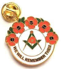 Masonic We Will Remember Them Remembrance Poppy Lapel Pin Badge Exclusive