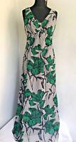 HOBBS Invitation Grey & Green Floral 100% Silk Floaty Maxi Dress Size 12 Party