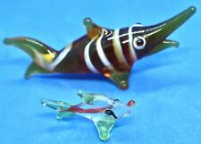 2 Vintage Miniature Glass Fish Figurines Brown White Striped Swordfish & Other