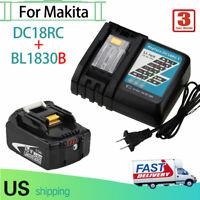 For Makita DC18RC Charger + For Makita BL1830B 18V 3.0Ah Lithium Battery (LED)