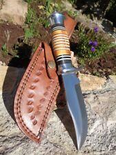 Couteau de Chasse Skinner Lame Acier 3Cr13 Manche Os Etui Cuir Frost FBKH220TB