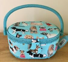 SEWING BASKET BOX 'Dogs in Jumpers' Design SMALL OVAL QUALITY