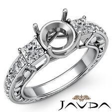 Round Mount 14k White Gold 0.4Ct 3 Stone Diamond Wedding Vintage Ring Princess