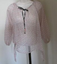 NEW TOMMY GIRL PINK SHEER CHIFFON FLORAL ELASTIC NECKLIN 3/4SLEEVE TIE-SIDES TOP