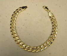 Men's Yellow Gold Plated Frosted Finish Curb Cubam Bracelet 9in Long  10mm Wide