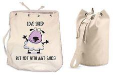 LOVE SHEEP DUFFLE BAG Vegetarian Vegan Veggie College Rucksack Gym Backpack