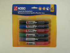 NOBO 6 Pack Liquid Ink Whiteboard Markers Pens Drywipe Mixed Colours 2mm Bullet