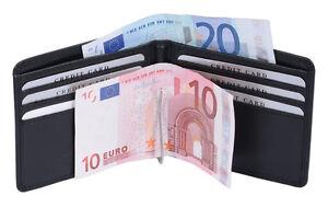 Money Clip Portemonnaie Kreditkarte LEAS Echt-Leder ohne Kleingeldfach, schwarz