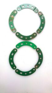 Vintage Meccano pack of 8 Curved Strip; Step.; 2 1/2 in.; 1 3/8 in. radius (90a)
