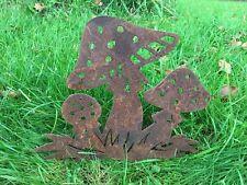 3 Toadstool Rusty Mushrooms Silhouette Metal Garden Art