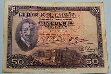 "50 PESETAS 1927 SPAIN SELLO REPUBLICA ALFONSO XIII BANKNOTE, PICK# 80 ""F"" CRISP"