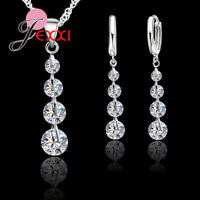 925 Sterling Silver Cubic Zirconica Crystal Pendant Necklace and Earring Set UK