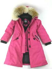 Canada Goose Girls Parka Jacket Pink Long Sleeves Lined Pockets Full Zipper XS