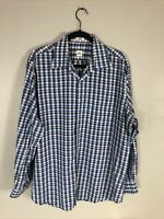 Peter Millar Mens Sz L Button Down No Show Shirt Blue Plaid Long Sleeves Checks