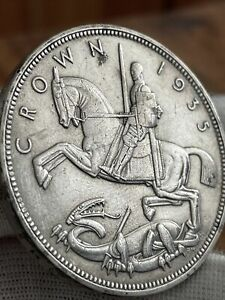 1935 Silver King George V Rocking Horse Crown Coin
