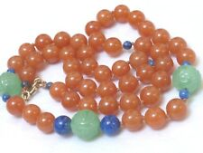VINTAGE CHINESE RUST JADE, CARVED GREEN JADE BEADS NECKLACE, 12KGF CLASP, 49G