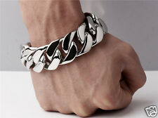 "【Ship from USA】8.5"" Rocker Biker Gothic 25mm Cuban Curb Stainless Steel Bracelet"