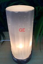 "9"" Selenite Lamp Tower Fossil Base W/Cord Gemstone Polish Top Crystal Lamp Gift."