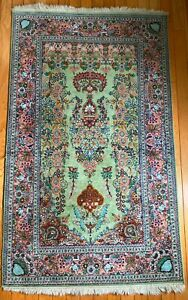 """All Silk Hand Knotted Carpet Rug Made in Jaipur India 51"""" x 30"""""""