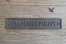 Large Vintage Style Cast Iron Management Sign Door Plaque Wall Sign Lp2