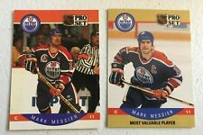 2 card lot 1990-91 Pro Set Mark Messier Base #91 & MVP #397 Oilers