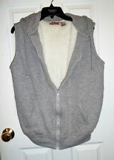 ladies size M gray thick fleece lined vest hood front zipper by b.i. gear
