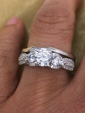 Sterling Silver Engagement Ring With Wedding Band