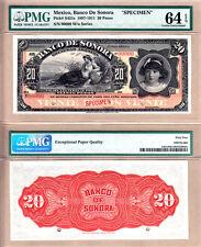 PMG CH UNC64 EPQ 1897-1911 Mexico 20 Pesos SPECIMEN El Banco de Sonora PS-421s