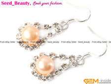 Freshwater Pearl Beads Rhinestone Silver-plated Drop Earring With Gift Box