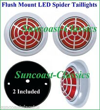 Flat Mount Spider Web Red LED Taillights with Mounting Pads Hot Rod GM - P50