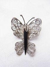 Butterfly  Schmetterling Filigransilber Brosche Brooch Onyx Falter Silber Nr.14
