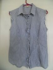 Rue 21 Misses Blue Striped Sleeveless Ruffle Shirt Top with Collar  Sz: Large