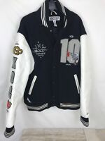 10 Deep Varsity Jacket Black White Leather Sleeves Men's Size XL XDC