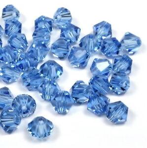 Kristallperlen Bicone Doppelkegel Perlen blau Light Sapphire 4mm 100 Stück