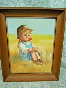 "TC-2  Dianne DENGEL original painting of a LITTLE GIRL; signed; 12"" X 10"" framed"