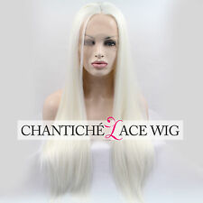 Straight White Wig Long White Blonde Synthetic Lace Front Wigs For Women 24 Inch
